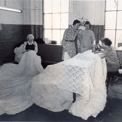 ladies examining the lace